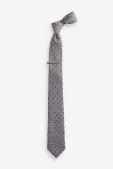 Paisley Tie With Tie Clip
