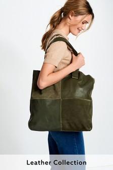 Leather Stitch Detail Shopper Bag