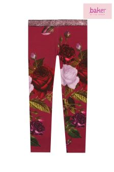 baker by Ted Baker Red Rose Textured Placement Print Legging