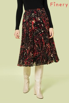 Finery London Black Amara Abstract Large Scale Print Skirt