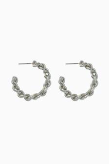 Twist Effect Chain Hoop Earrings