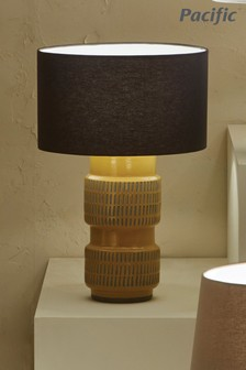 Imia Textured Mustard Stoneware Table Lamp by Pacific Lighting