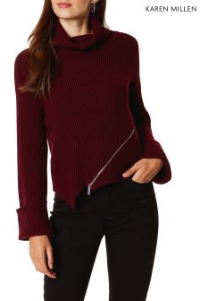 Karen Millen Red Chunky Zip Rib Jumper