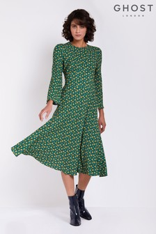 Ghost London Green Printed Sophia Dress