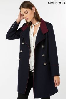 Monsoon Blue Mya Military Style Coat