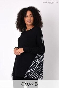 Live Unlimited Curve Black Jersey Top with Zebra Print Back