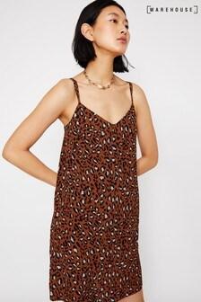 Warehouse Tan Animal Cami Dress