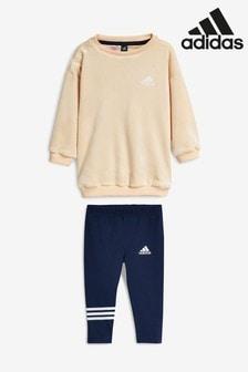 adidas Anzug aus Samt für Babys, creme/marineblau
