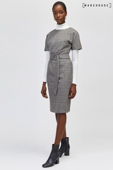 Warehouse Grey Check O-Ring Wiggle Dress