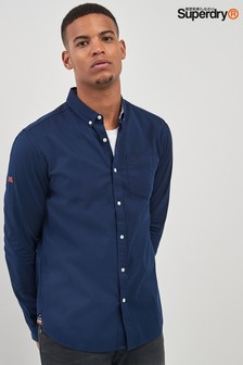 Superdry Navy Long Sleeve Oxford Shirt