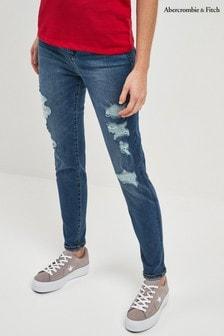 Abercrombie & Fitch Jeans mit Rissen, mittelblaue Waschung