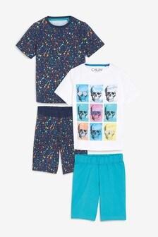 Multi Skull/Splatter Print Short Pyjamas Two Pack (3-16yrs)