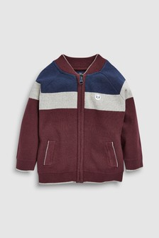 Colourblock Zip Through Knitted Bomber Jacket (3mths-7yrs)