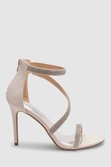 Asymmetric Jewelled Sandals