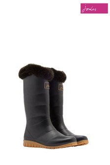 Joules Black Downton Fleece Welly