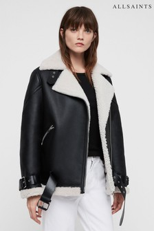 AllSaints Black Luxury Leather Shearling Hawley Jacket