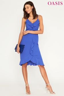 Oasis Blue Cami Frill Midi Dress