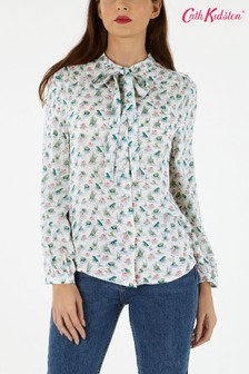 Cath Kidston® White Bathing Frogs Tie Neck Blouse