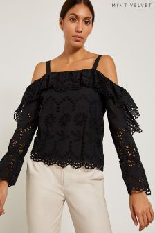 Mint Velvet Black Off Shoulder Broderie Top
