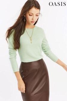 סוודר עם צווארון מעוגל של Oasis דגם Alexa בצבע ירוק