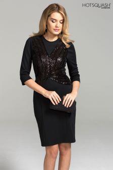 HotSquash Black Sequin Miranda Ponte Dress