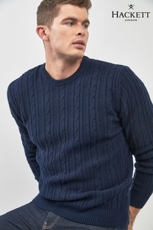 Hackett Blue Cable Knit Jumper