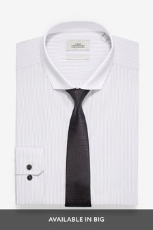 Slim Fit Single Cuff Contrast Collar Striped Shirt And Tie Set