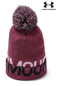 כובע גרב עם פונפון וכיתוב של Under Armour