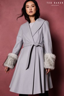 Ted Baker Grey Faux Fur Cuff Coat