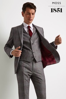 Moss 1851 Tailored Fit Black/White With Red Check Jacket