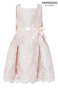 Monsoon Valeria Peach Lace Dress
