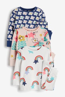 3 Pack Floral/Rainbow Snuggle Pyjamas (9mths-8yrs)