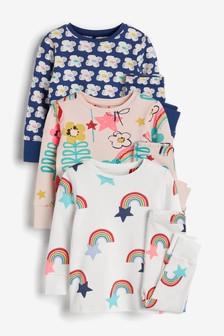 Dúhové/kvetované pyžamá, 3 ks (9 mes. – 8 rok.)