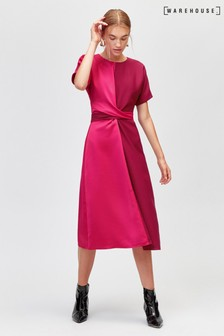 Warehouse Multi Colour Block Twist Dress