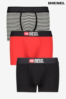 Diesel® Black/Red Stripe Trunks 3 Pack
