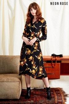 Neon Rose Black Margot Floral Button Wrap Midi Dress