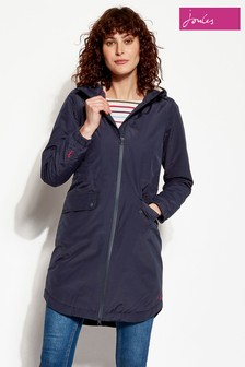 Joules Navy Waterproof Parka With Faux Fur Lining