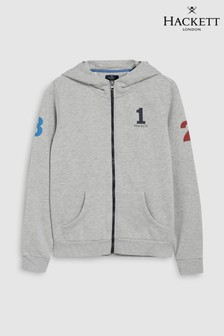 Hackett Kids Grey Marl Zip Through Number Hoody