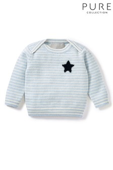 Pure Collection Blue Cashmere Baby Sweater