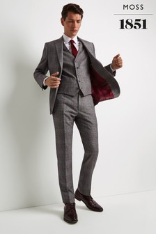Moss 1851 Tailored Fit Black/White With Red Check Trouser