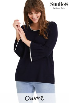 Studio 8 Navy Vive Flared Sleeve Knit Top