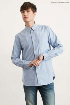 French Connection Sky Blue Stretch Oxford Shirt