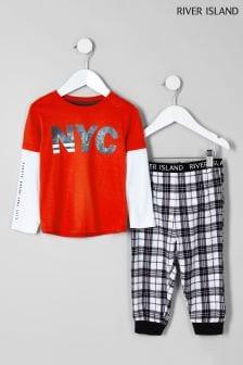 River Island NYC Logo And Check Pyjama Set