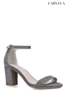 Carvela Metallic Abigail Fabric Heeled Sandals