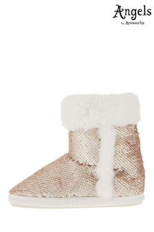 Angels by Accessorize Gold Reversible Sequin Slipper Boot