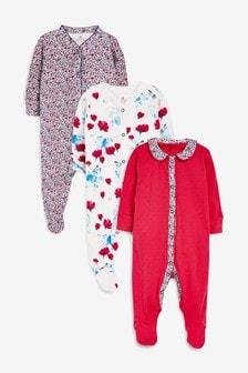 Pyjamas mit floralem Muster, 3er-Pack, mohnrot (0Monate bis 2Jahre)