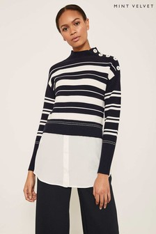 Mint Velvet White Stripe Ottoman Layered Knit
