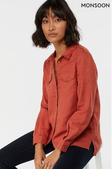 Monsoon Ladies Brown Lucy Linen Shirt