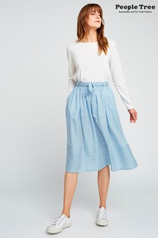 People Tree Blue Gemma Stripe Skirt