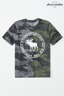 Abercrombie & Fitch T-Shirt mit Logo und Camouflage-Muster